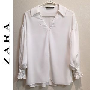 Zara puff sleeve V neck Top